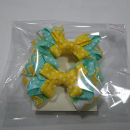 Резинки для волос бантики, желтый-бирюза