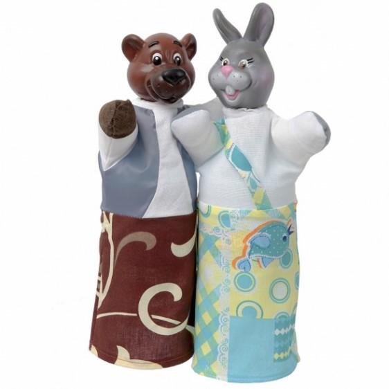 """Кукольный театр """"Медведь и заяц"""" (2 персонажа), в кор. 19*9*8см"""