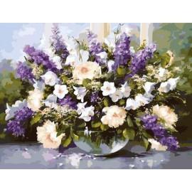 """Картина по номерам """"Большой букет в стеклянной вазе 2"""", 40*50 см KHO1050"""
