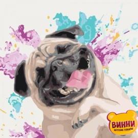Купить картину по номерам Идейка Любимый весельчак, собачка, мопс, 40*40 см KHO4066
