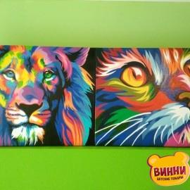 Готовая картина Радужный лев и кот, 30*40 см