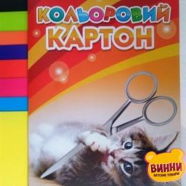 Картон цветной А4 9 листов Котик