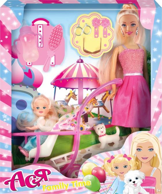 """Набор с куклой Асей  """"Семейный досуг"""" 28см и маленькой куклой 11см в коляске в кор. 26*32,5*6см"""
