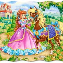 "Кастор пазлы 030  ""Принцесса и её лошадь"" 32*23 /40/"
