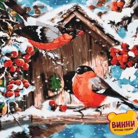 Картина по номерам Яркие снегири, 40*40 см KHO4041