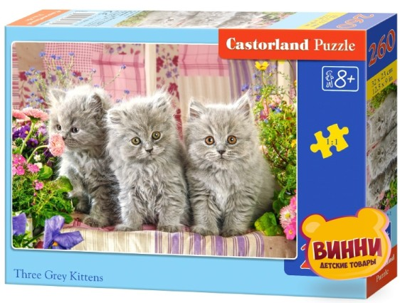 "Кастор пазлы 260 ""Три серых котёнка"" 32*23 см, B-27491"