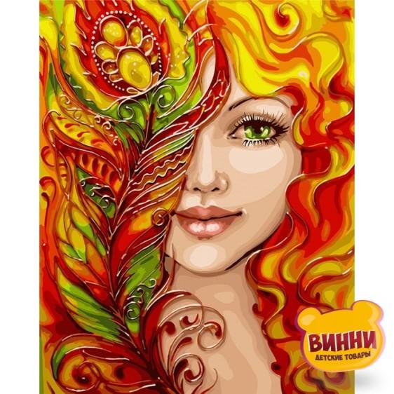 Картина по номерам Огненная девушка с красками метал, 40*50 см KHО4599