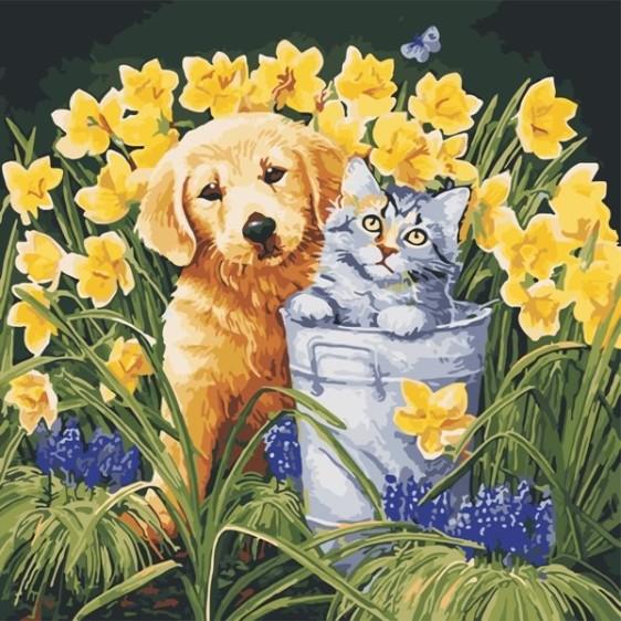 Картина по номерам 40*40 см AS0570 В саду