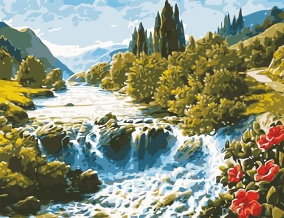 Картина по номерам 50*65 см AS0622 Волшебный водопад