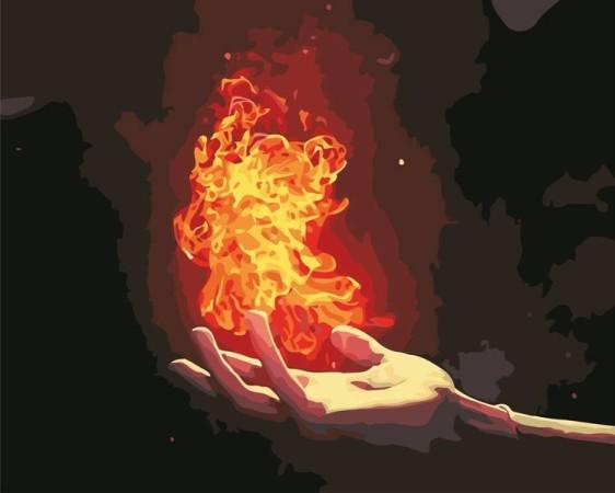 Картина по номерам 40*50 см AS0583 Пламя в ладони