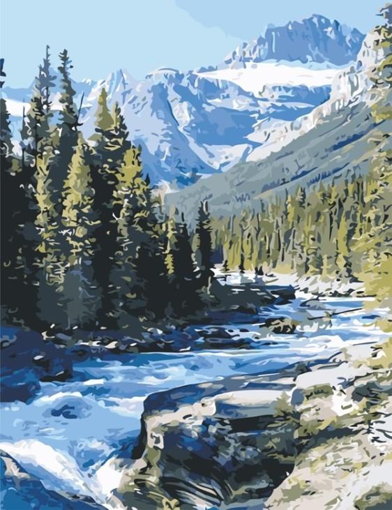 Картина по номерам 50*65 см AS0628 Горная река
