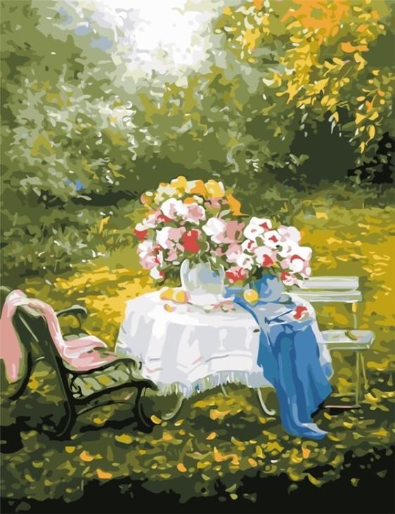 Картина по номерам 50*65 см AS0649 Отдых в саду