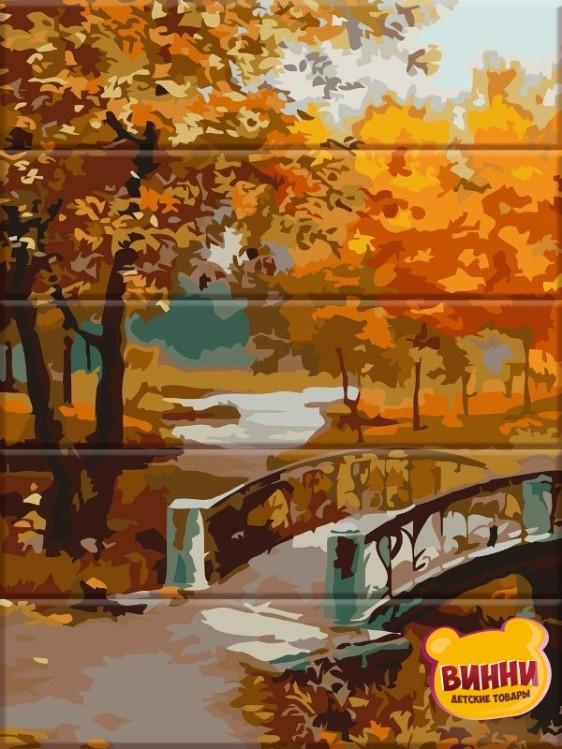 Роспись по номерам на дереве Осенний парк 30*40 см, ASW067