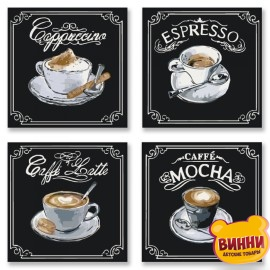 Полиптих. Картины по номерам Вкусный кофе, 18х18х4шт, KNP001