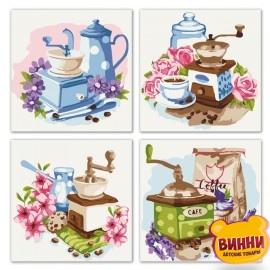 Полиптих. Картины по номерам Цветочный кофе, 18х18х4шт, KNP018