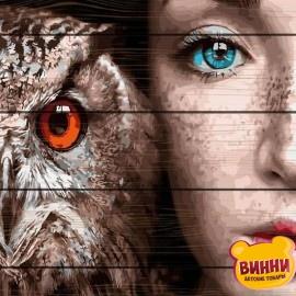 Картина по номерам на дереве Девушка и сова 40*50 см, GXT30916