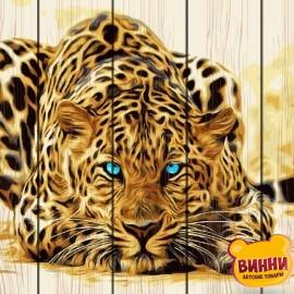Картина по номерам на дереве Голубоглазый леопард 40*50 см, GXT4175