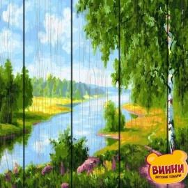 Картина по номерам на дереве Березки у реки 40*50 см, GXT22577