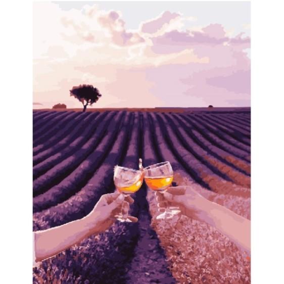 Картина по номерам Лавандовое поле Валенсоль с бокалами. Сергей Сухов 40*50 см, GX23787
