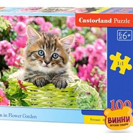 """Кастор пазлы 100 """"Котенок в цветочном саду"""" 40*29 см, B-111039"""