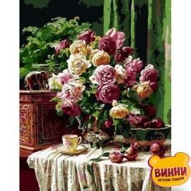 Картина по номерам Бордовые розы и гранаты, 40*50 см Q1358