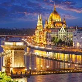 """Кастор пазлы 2000 """"Панорама Будапешта в сумерках """"92*68"""