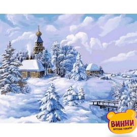 Картина по номерам Зима в деревне, 40*50 см VP818