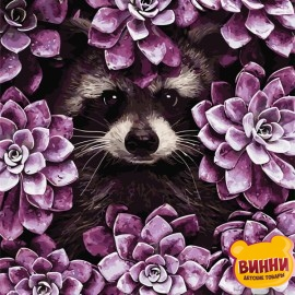 Картина по номерам 40*50 см AS0721 Енот в цветах