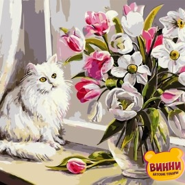 Картина по номерам 40*50 см AS0733 Кот на подоконнике