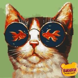 Картина по номерам 40*40 см AS0797 Мечты кота