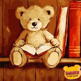 Картина по номерам 40*40 см AS0803 Мишка с книгой