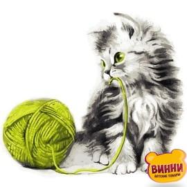 Картина по номерам 40*40 см AS0806 Котёнок с клубком