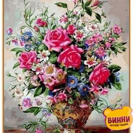 Купить картину по номерам Babylon Premium Розы и лилии (в раме), 40*50 см, NB1050