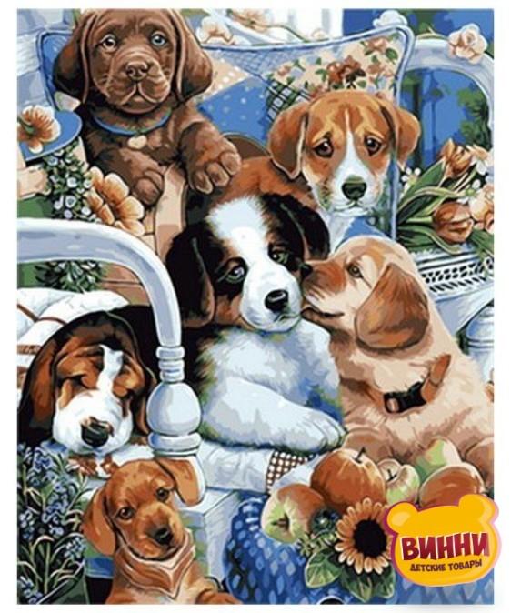 Купить картину по номерам Mariposa Милые щенки, 40*50 см Q1760