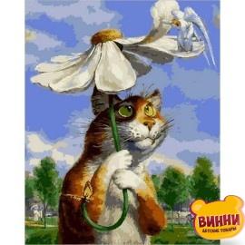 Картина по номерам Кот с ромашкой, 40*50 см Q2076