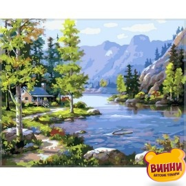 Купить картину по номерам Babylon Домик у ручья, 40*50 см VP220