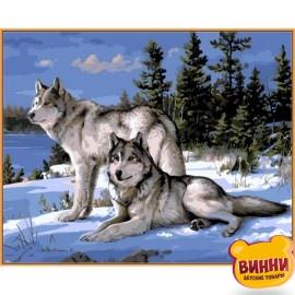 Купить картину по номерам Babylon Premium Волки на снегу(в раме), 40*50 см, NB236