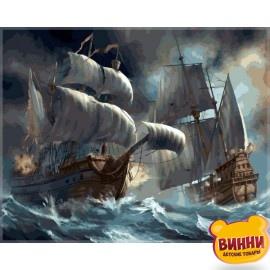 Купить картину по номерам Babylon Сражение кораблей во время шторма, 40*50 см VP257
