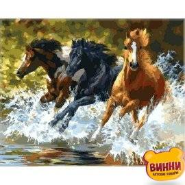 Купить картину по номерам Babylon Брызги, лошади, 40*50 см VP348