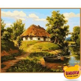 Купить картину по номерам Babylon Premium Домик возле пруда (в раме), 40*50 см, NB356