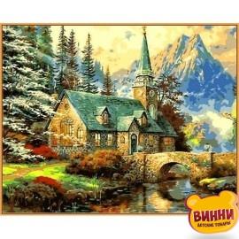 Купить картину по номерам Babylon Premium Альпийский пейзаж. Часовня, 40*50 см, NB497