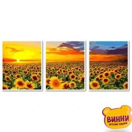 Купить триптих, картину по номерам Babylon Рассвет на поле с подсолнухами, VPT041