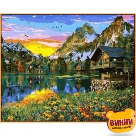 Купить картину по номерам Babylon Premium Деревня у горного озера (в раме), 40*50 см, NB1145