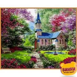 Купить картину по номерам Babylon Premium Замок в цветущем саду (в раме), 40*50 см, NB1153