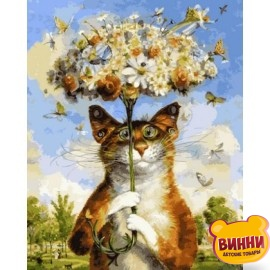 Купить картину по номерам Babylon Premium Веселый кот (в раме), 40*50 см, NB2124