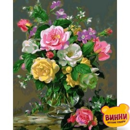 Купить картину по номерам Mariposa Три оттенка роз, 40*50 см Q2167