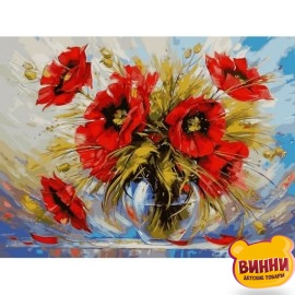 Купить картину по номерам Babylon Маки в стеклянной вазе, 40*50 см VP540