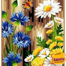 Купить картину по номерам Babylon Premium Васильки и ромашки (в раме), 40*50 см, NB083