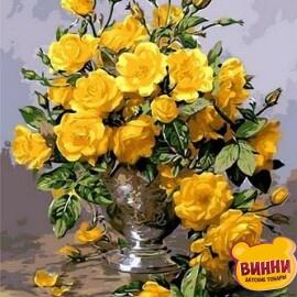 Купить картину по номерам Mariposa Желтые розы в серебряной вазе, 40*50 см Q1118