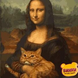 Купить картину по номерам Babylon Мона Лиза с котом, 40*50 см VP1172